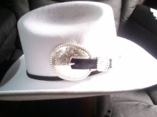 TONY LAMA SILVER BELT BUCKLE WHITE COWGIRL/COWBOY WESTERN HAT LADIES