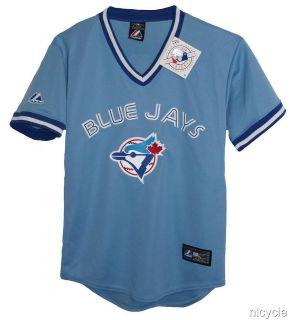 Toronto BLUE JAYS MLB MAJESTIC Blue PULOVER JERSEY w BLUE JAYS BIRD