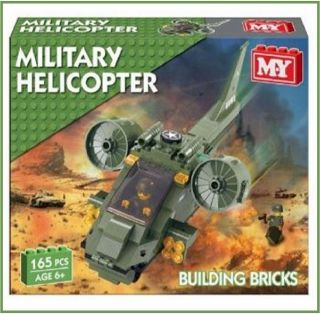 MILITARY ARMY HELICOPTER BUILDING BRICKS BLOCK PLAYSET FITS LEGO XMAS