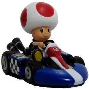 Nintendo Mario Kart Wii 3 Pull Back Action Toy Race Car   Toad w/box