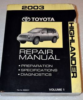 2003 TOYOTA HIGHLANDER BASE & LIMITED Factory Service Repair Manual