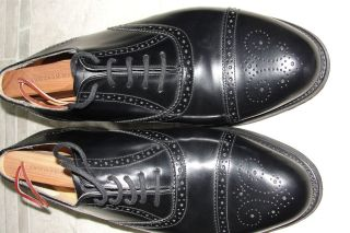 Mens Barker Wallace Black Leather Oxford Shoes Size 8 Made in England