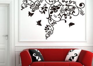 Hot Tree Branch Butterfly Flower Wall Decor Sticker Art Vinyl Decal