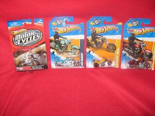 HW Motor Cycles Harley Fat Boy, 450F W/Rider, Bad Bagger & Trike