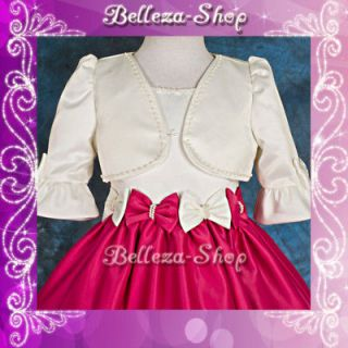 Newly listed Ivory Wedding Flower Girl Pageant Party Satin Mini Jacket