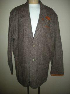 Orvis Mens Brown Tweed Wool Leather Patch Sleeves Trim Jacket Sz L