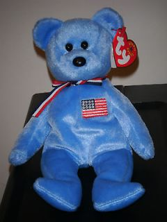 Ty AMERICA the Blue USA Bear Beanie Baby ~ MINT TAGS ~ RETIRED
