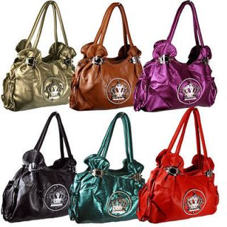 Ladies Faux Leather Crown Royal Shoulder Hand Bag