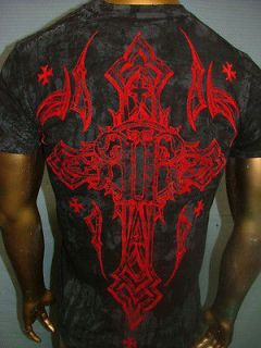 REBEL SAINTS by AFFLICTION Black CONCRETE Cross FIGHT BIKER UFC T