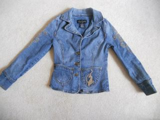 Baby Phat Girls Denim Jean Jacket Long Sleeve Small Blue S