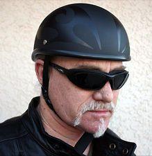 VOSS Flat Black Flame Bullet Beanie Motorcycle Helmet Size Medium