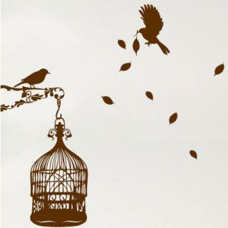 large bird cage leaves wall stickers wall decals location united