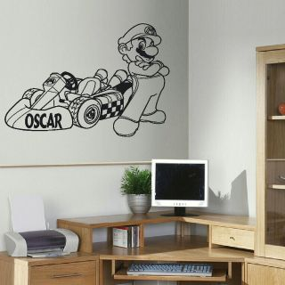 MARIO BROS KART CHILDRENS BEDROOM WALL STICKER TRANSFER DECAL
