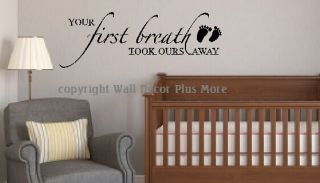 Baby Nursery Wall Sticker Decal Quote Saying Art Your First Breath