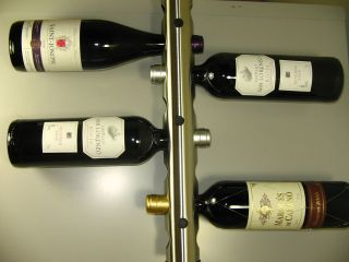 MODERN CONTEMPORARY WALL MOUNTED STAINLESS STEEL WINE RACK 8 BOTTLE