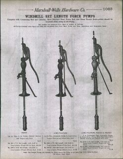 1912 AD Windmill Set Length Force Water Well Pumps Three Way Couble