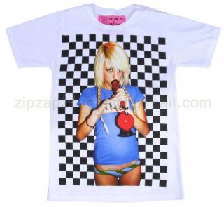 Mens Retro Punk Rock Pop Vintage Finger Girl Lady T Shirt Sexy Blonde
