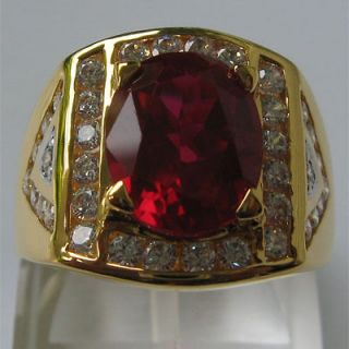 CT PRECIOUS RED RUBY OVAL WHITE CZs JEWELRY MENS RING SIZE 10