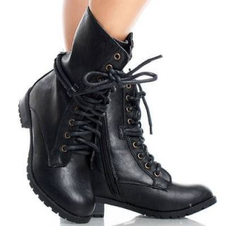 Black Lace Up Army Combat Military Womens Platform Flat Ankle Boots