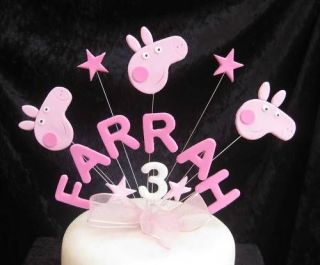 handmade birthday name age cake topper peppa pig from united