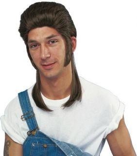 Adult Mens Brown Hair Mullet White Trash Redneck Wig Halloween