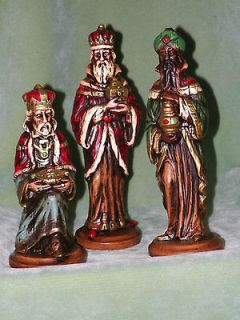 Lot 3 Vintage R B ~ Wise Men Rustic Figurine Statue Christmas Holiday