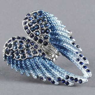 Jewelry Dark Blue Crystal Angel Wing Women Elastic Stretchy Ring R127