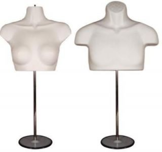 Newly listed WHITE MALE & FEMALE TORSO MANNEQUINS with METAL BASE