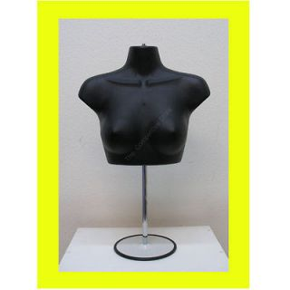 Black Female Upper Torso Mannequin Form W/ Metal Base   Countertop