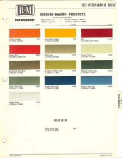 1972 international truck paint chips sheet r m time left