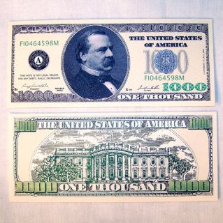 100 one thousand dollar bills novelty money new time left