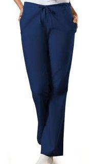 NEW Cherokee WorkWear 4101 NAVY BLUE Drawstring Flare Leg Scrub Pants