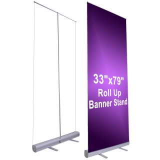 33x79 Retractable Roll Up Banner Stand Pull Popup Trade Show Display