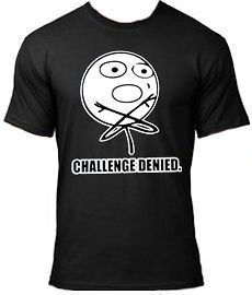 CHALLENGE ACCEPTED FUNNY COMIC T SHIRT, MEME, TROLL FACE, NEW, S XL