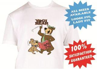 yogi bear and boo boo mens womens T Shirt New White Custom Print Tee