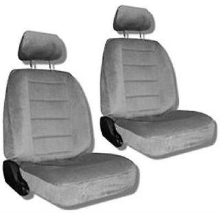 Grey Quilted Velour Car Auto Truck Seat Covers w/ Head rest Covers #2