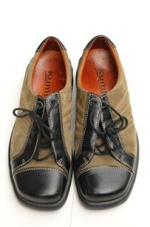 Kumfs New Zealand Olive Green & Black Leather Oxford Shoes Sz 39 Eu /8