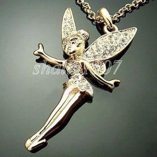 18k gold gp swarovski austrian crystal tinkerbell necklace from china