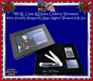 Elvis Presley Blue Bone Trapper & Zippo Lighter W/Gift Box