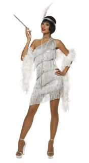 1920s Roaring 20s Adult Womens Silver Dazzling Flapper Costume Dress