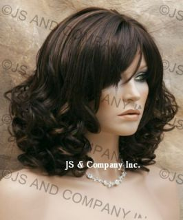 Full Body Curly Beautiful Brown Mix Wig w Bangs SC HL4 27