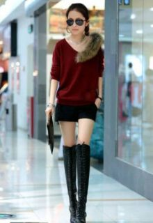 Casual Faux Fur V Neck Long Sleeve Sweater Top with Pocket A454