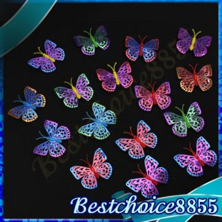 16x Hollow Butterfly 3D Wall Stickers Self adhesive Home Art Kids Room