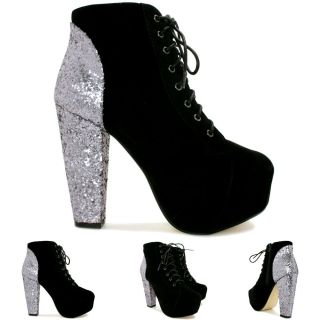 New Womens Block Heel Glitter Lace Up Concealed Platform Ankle Boots