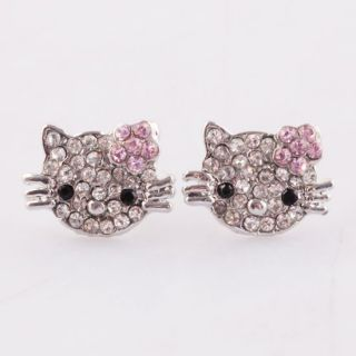 Pair Lovely Clear Pink Flower Crystal Hellow kitty^ Charm Earrings