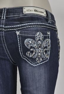 Miss Chic Jeans Boot Cut w Fleur De Lis Studded Design SZ 1 15 (1898C)