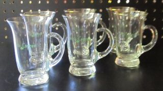 Set of Six Glass Irish Coffee Mugs 6 oz