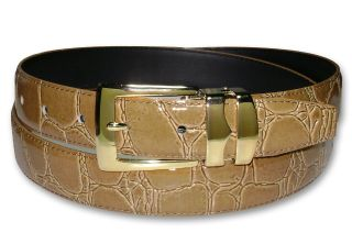 Taupe Brown Bonded Leather Belt Gold Tone Buckle Sz 38