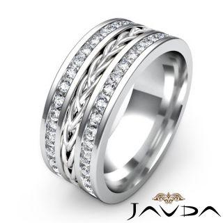 5mm Mens Wedding Band Pave Diamond Rope Eternity Ring 14k Gold