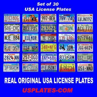 SET OF 30 UNITED STATES NUMBER LICENSE PLATES LOT TAG ORIGINAL USA